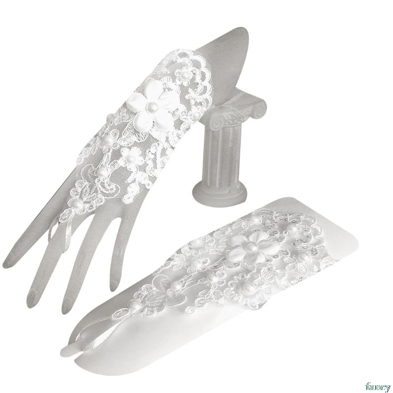 1 Pair Women Bridal Short Gloves Fingerless Embroidery Lace Floral Applique Faux Pearl Decor Mittens Cross Bandage Hook Finger