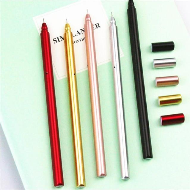 Jonvon Satone 50 шт., креативная гелевая ручка с металлической ручкой, ручки для письма, канцелярские принадлежности, Canetas Material Escolar, канцелярские принадлежности