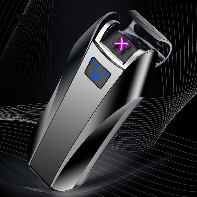 2018 New Dual Arc USB Lighter Rechargeable Electronic Lighter LED Screen Cigarette Plasma Induction Palse Pulse Thunder Lighter