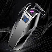 2018 新デュアルアーク USB ライター充電式電子ライター Led スクリーンタバコプラズマ誘導 Palse パルス雷ライター