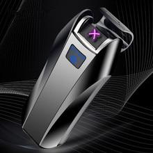 2018 nowy podwójny łuk Zapalniczka z USB elektroniczna zapalniczka na akumulator ekran LED papieros Plasma indukcyjna Palse impulsu Thunder zapalniczki