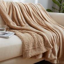 CAMMITEVER maison Textile flanelle agneau cachemire Double couverture épaisse avec manche sur le lit solide moelleux linge couvre lit