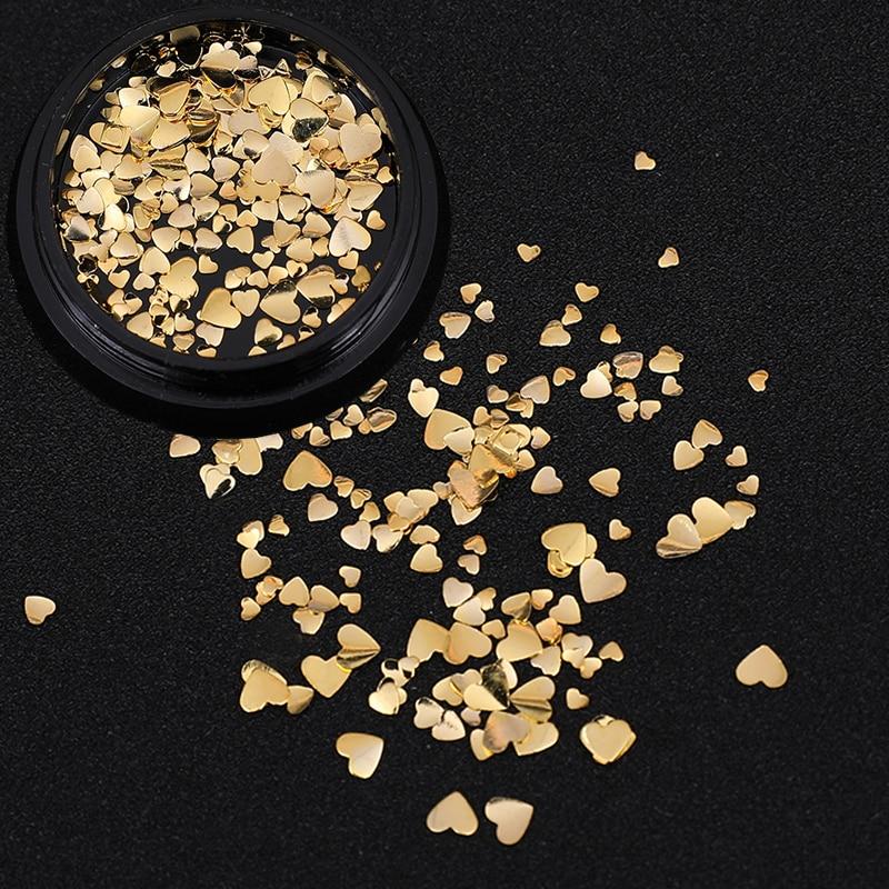 1 коробка, металлические шпильки в форме сердца для ногтей, подвески золотого и серебряного цвета, ультратонкий 3D медный сплав, маникюрные у...