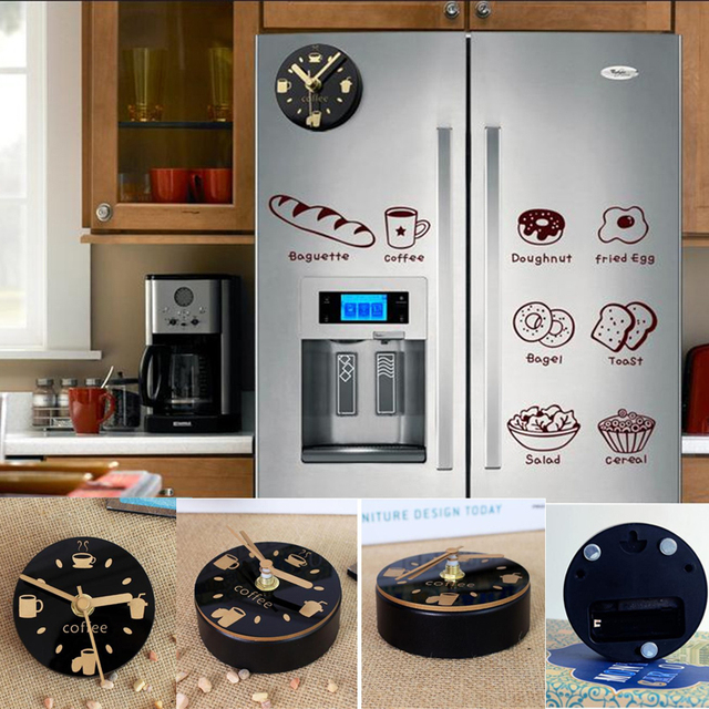 Mute Refrigerator Magnets Souvenir Digital Self Adhesive Wall Clock Fridge  Magnets Blanks Magnetic Board Kitchen Watch Pictures