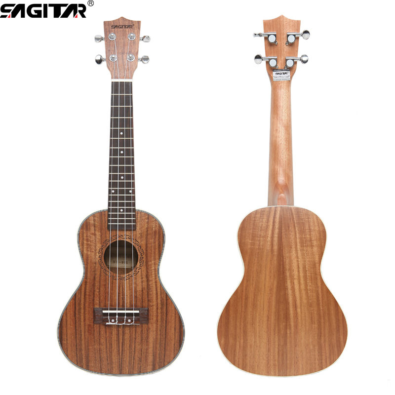 ФОТО High-quality 23 inch Hawaii Ukulele soprano 4Strings 18 Frets Rosewood Acacia Koa material with pegs packaging guitar parts toys