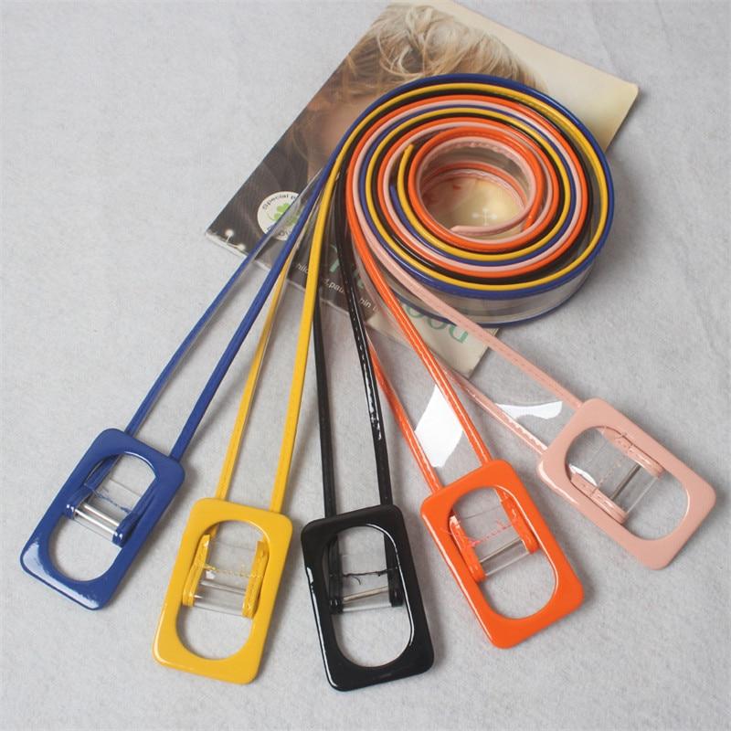 Women Waist   Belt   Resin Transparent Long   Belt   Dress Band   Belt   Rectangular Buckle Candy Colors Leather Strap