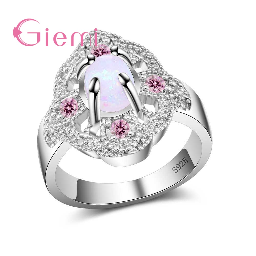 GIEMI Big Noble Flower Rings Paved Multicolor Rhinestone 925 Sterling Silver Jewelry for Women Opal Wedding Party Anillos