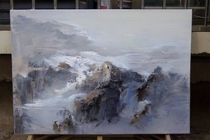 Image 5 - 特大の壁アート抽象絵画現代アートブルー油絵大キャンバスの芸術の絵画キャンバス風景画