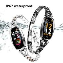 Smart Bracelet Women waterproof IP67 Fashion Wristband Blood Pressure Heart Rate Monitor Fitness Tracker Clock H8