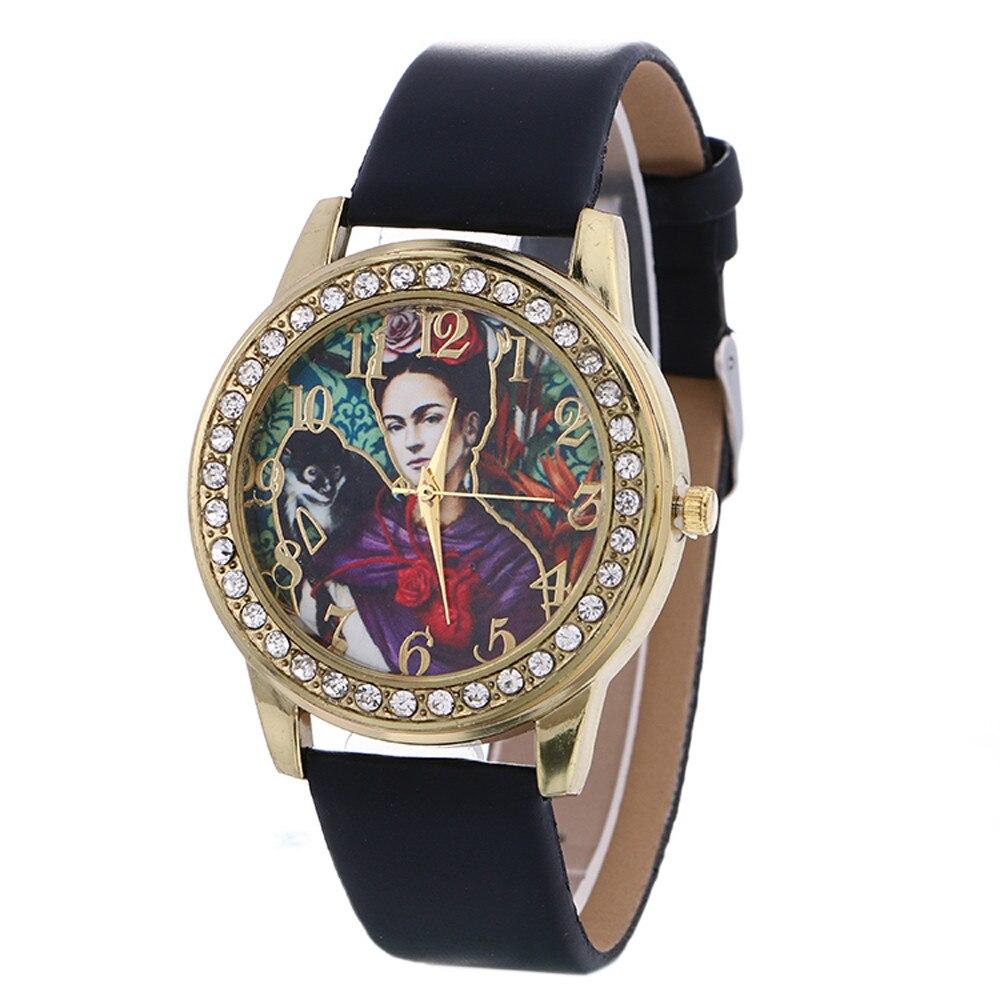 2019 High Quality Womens Watches Rhinestone Pattern Leather strap Wristwatches For Women Cartoon Quartz-Watch Clock montre femme