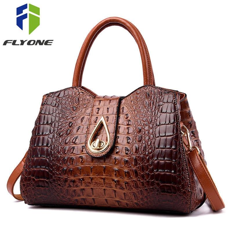 FLYONE Vintage Fashion Crocodile Genuine Leather Luxury Handbags Women Bags Designer Female Shoulder Bag Ladies Bolsas Feminina-in Shoulder Bags from Luggage & Bags