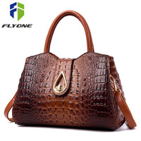 FLYONE Vintage Fashion Crocodile Genuine Leather Luxury Handbags Women Bags Designer Female Shoulder Bag Ladies Bolsas Feminina