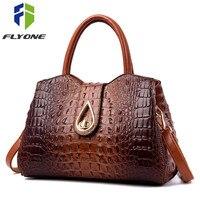 FLYONE Vintage Fashion Crocodile Genuine Leather Luxury Handbags Women Bags Designer Female Shoulder Bag Ladies Bolsas Feminina