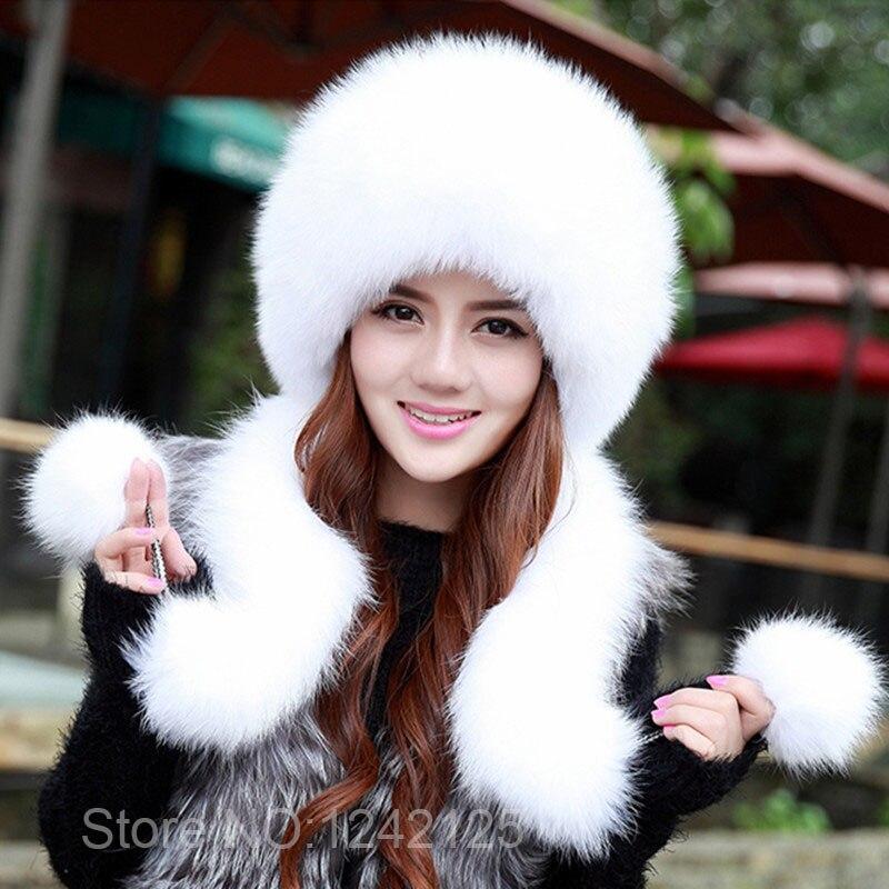 Nouveau hiver haute qualité femmes fille femme unisexe en cuir véritable réel renard fourrure chapeau de luxe haut de gamme en cuir entier écharpe fourrure chapeau