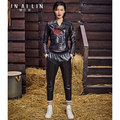 2017 New Women's leather jacket Short paragraph Motorcycle clothing embroidered Sheep skin