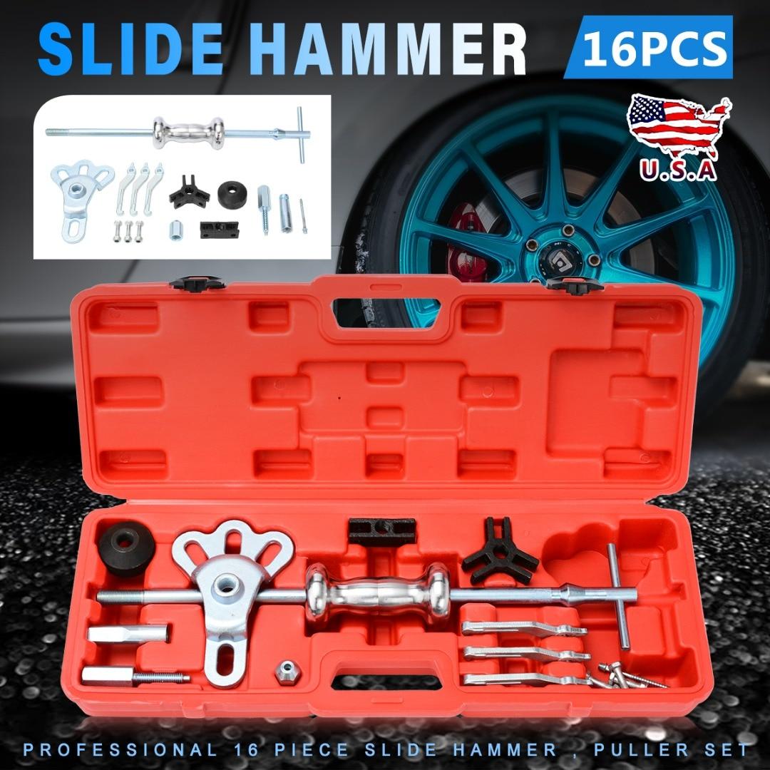 15pcs Metal Slide Hammer Universal Slide Hammer Set Car Profile Remover Front Axle Puller Cars Repair Tools Kits