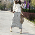 Free Shipping 2017 New Fashion Water Wash Stripe Denim Big Crotch Pants Personality Loose M L Long Pants For Women Elastic Waist