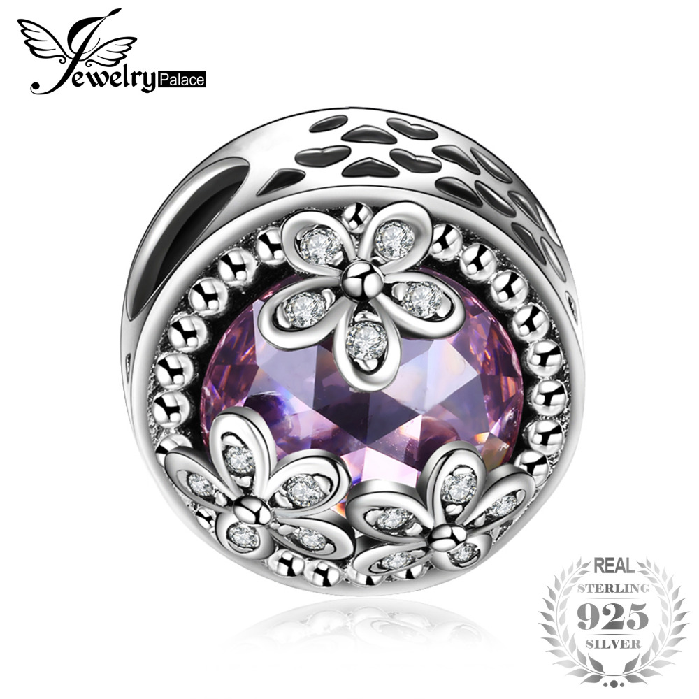 JewelryPalace 925 Sterling Silver Beads Charms Sparkling Daisies Cubic Zirconia Charm Fit Bracelet Bangles Flower Silver Jewelry цена