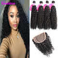 Kinky Curly Hair With Closure Brazilian Curly Hair 4 Bundles With Closure Wet And Wavy 7A Unprocessed Curly Hair Weave Bundles