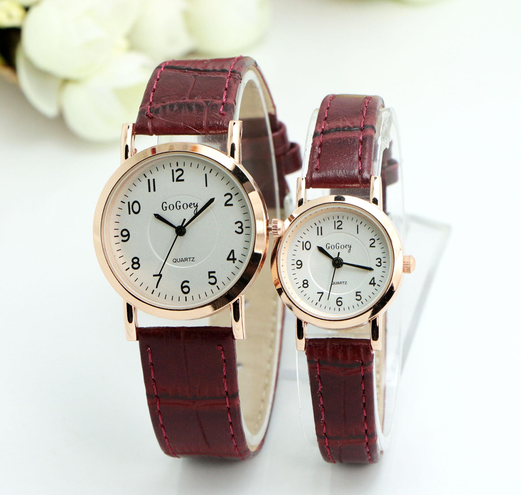 Hot Sales Gogoey Brand Leather Pair Watches Women Men Lovers Couple Fashion Dress Quartz Wristwatch G844
