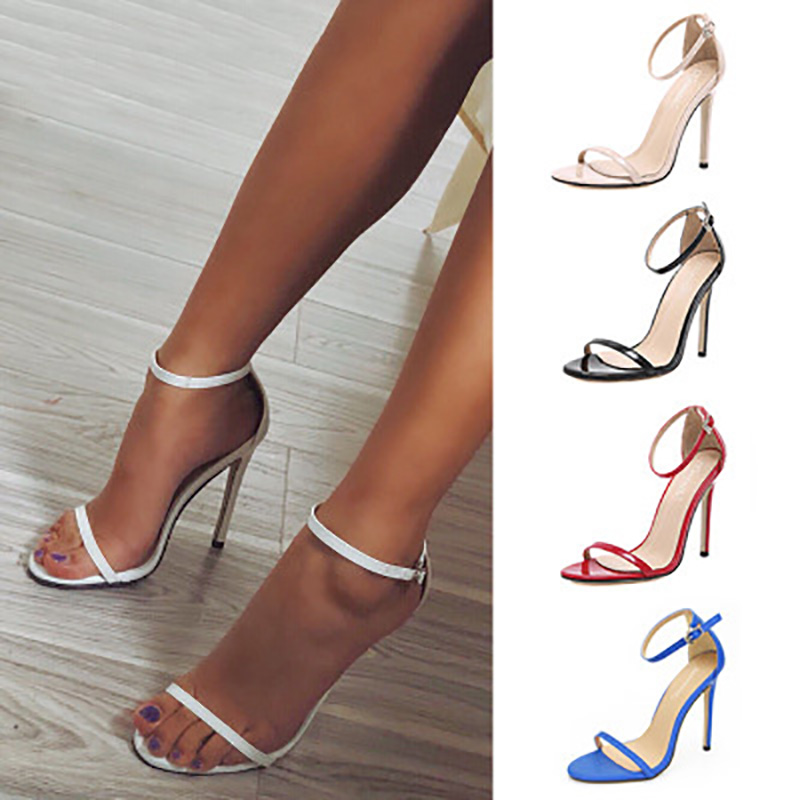 Women Shoes Stiletto Sandalie High-Heels Sexy Female Summer Plus-Size 43 Buckle Pu Pumps