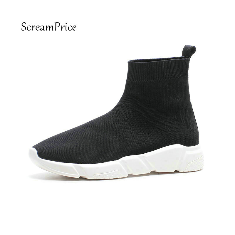 Knitting Comfort Flat With Slip On Autumn New Woman Ankle Boots Causal Fashion Shopping Ladies Shoes Black