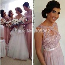 Charming 2016 Scoop Cap Sleeve Pink Long Bridesmaid Dresses A Line Sleeveless With beaded Prom Gown Floor Length BD38