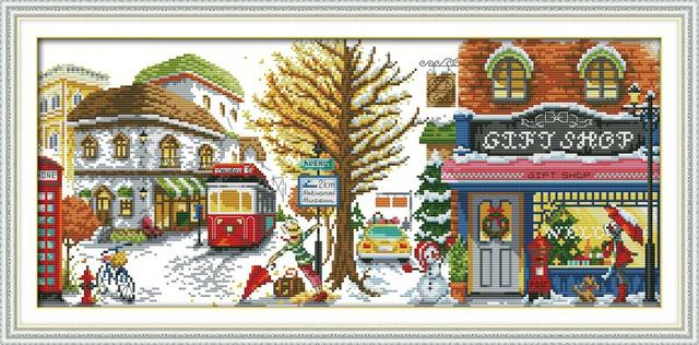 US $20 7 |2015 New Cross stitch Winter Street Needlework DMC Counted  Dimensions Cross Stitch Kits Sets for Embroidery Knitting Needles-in Beaded  Cross