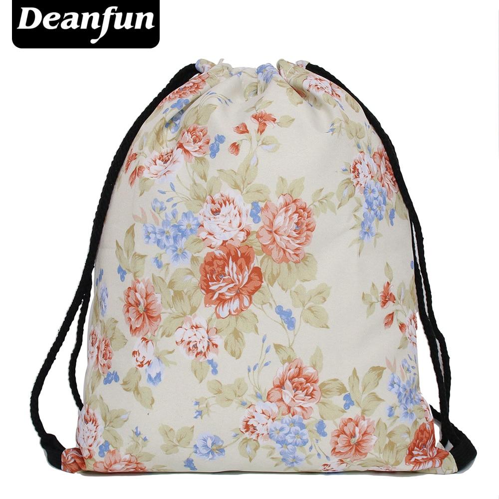 Deanfun 2016 new fashion escolar backpack 3D printing travel softback man women mochila feminina drawstring bag vint flowers s17