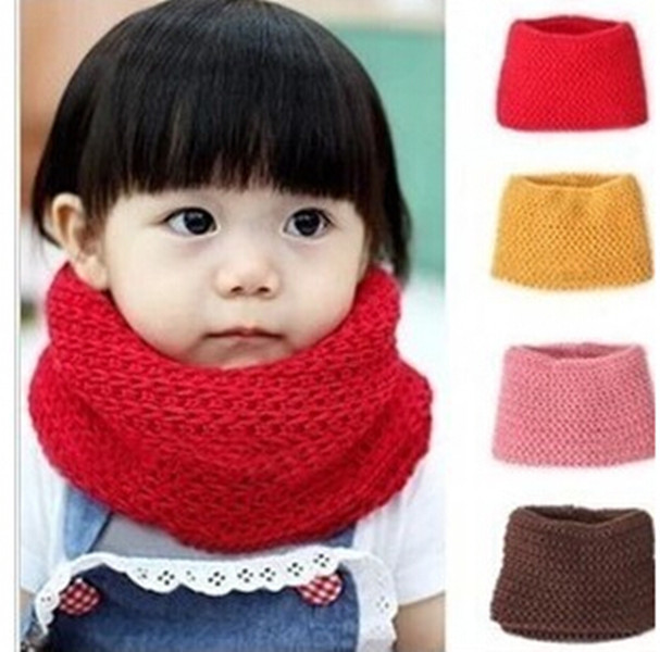 New 2018 Design Soft Candy Color Neck Bib Scarfs Kids Knitted Collar