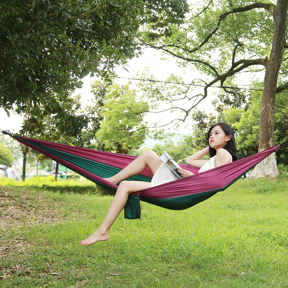 Image 5 - Outdoors Camping Hammock Hanging Swing Sleeping Bed Lightweight Portable Nylon Parachute Double Hammock for Backpacking Travel-in Outdoor Tools from Sports & Entertainment