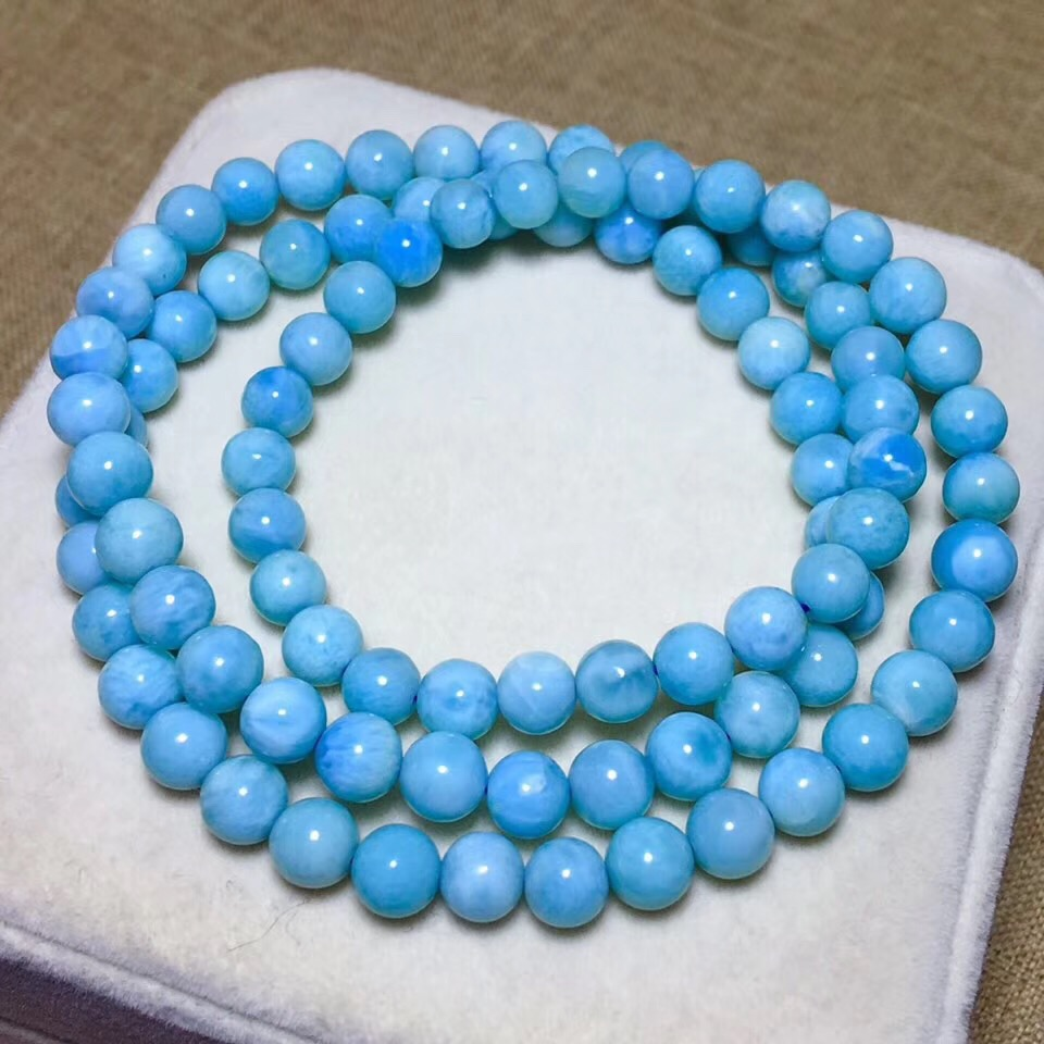 6.3mm Natural Larimar Stone 3 Laps Bracelet Women Men Party Accessories Gift Stretch Round Beads Crystal Bracelet Jewelry6.3mm Natural Larimar Stone 3 Laps Bracelet Women Men Party Accessories Gift Stretch Round Beads Crystal Bracelet Jewelry