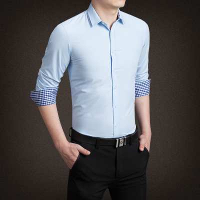 2017 2016 New Men Dress Shirts Man Cotton Collar Casual Slim Fit Formal Shirts For Men Plus Size 3XL 4XL 5XL N-5