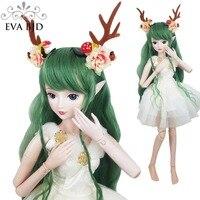 24 BJD Full Set + Green Deer 1/3 BJD Doll Spirit Demon Girl inch 60cm jointed dolls SD Doll Toy + Accessories Animal Fairy Toy