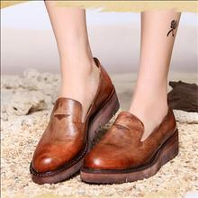 Handmade genuine leather shoes autumn women shoes round toe platform cowhide shoes vintage casual flats free shipping