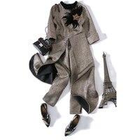 2017 Fashion Women's Set Personality lengthened blouse Women Two Piece pants Set Ladies irregular female long sleeved suit