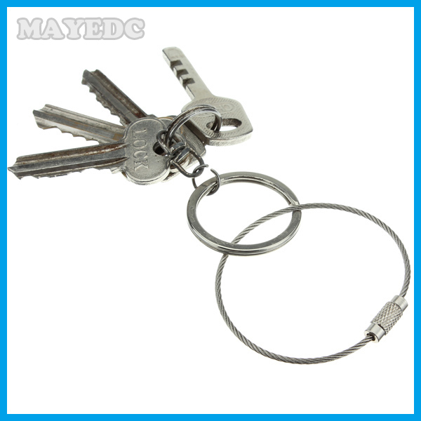 5pcs Stainless Steel Screw Locking Wire Keychain Cable Keyrings Key Holders  Outdoor Hiking Edc tool For Men Women mini tool cf57e34ac