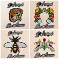 Parche bordado tigre grande, bordado applique del remiendo de la chaqueta de lana de la manera diy decorativos etiqueta parche de dibujos animados de las abejas