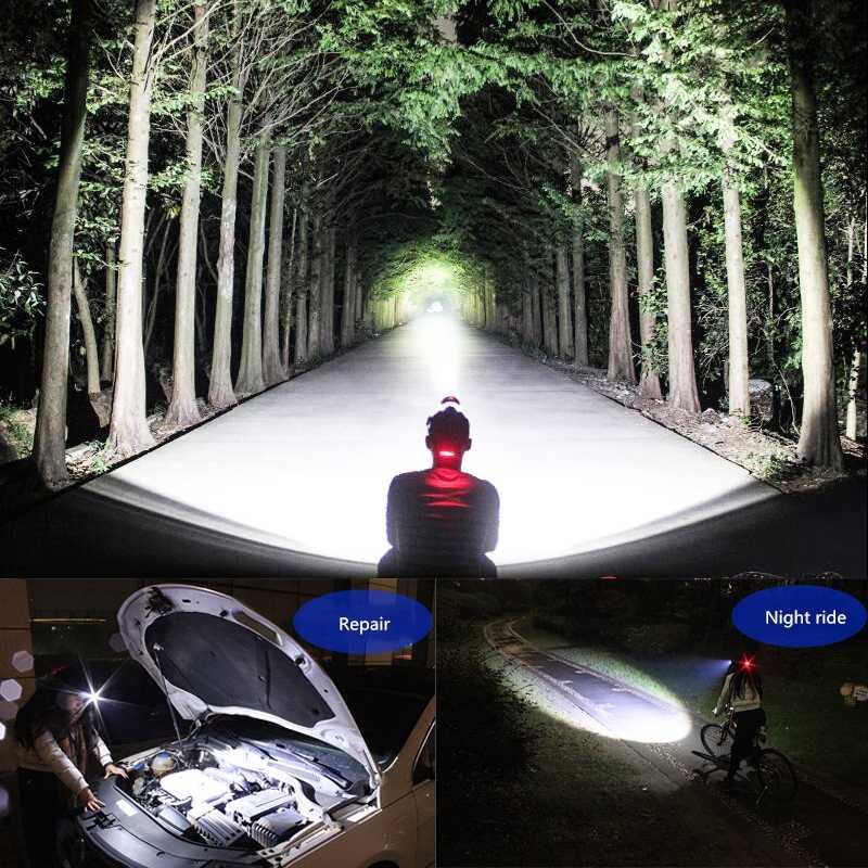 30000LM phare LED XHP50 phare XP-L-V6 lampe frontale éclairage de pêche vélo lumière lampe de poche torche lanterne pour Camping lumière