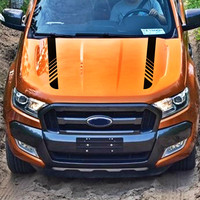 car stickers 2pc hood bonnet Gradient stripe styling graphic Vinyl car accessories modified decals for Ford everest ranger 2015