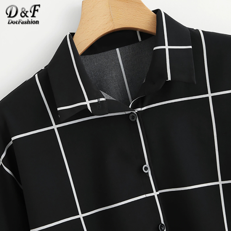Dotfashion Black And White Cuffed Sleeve Grid Shirt 2019 Summer Casual Batwing Sleeve Placket Clothing Womens Tops And Blouses