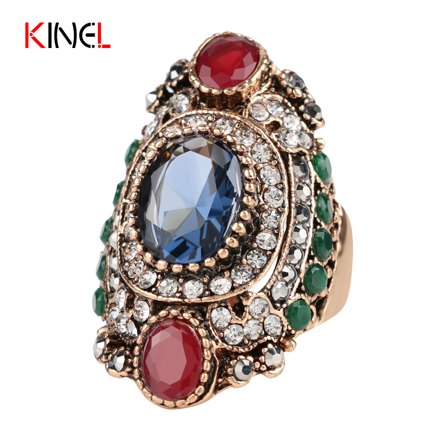 High Quality Luxury Big Ring Classic Vintage Charms Turkey Jewelry Fashion Party Ring Accessories 2016 Hot Sale