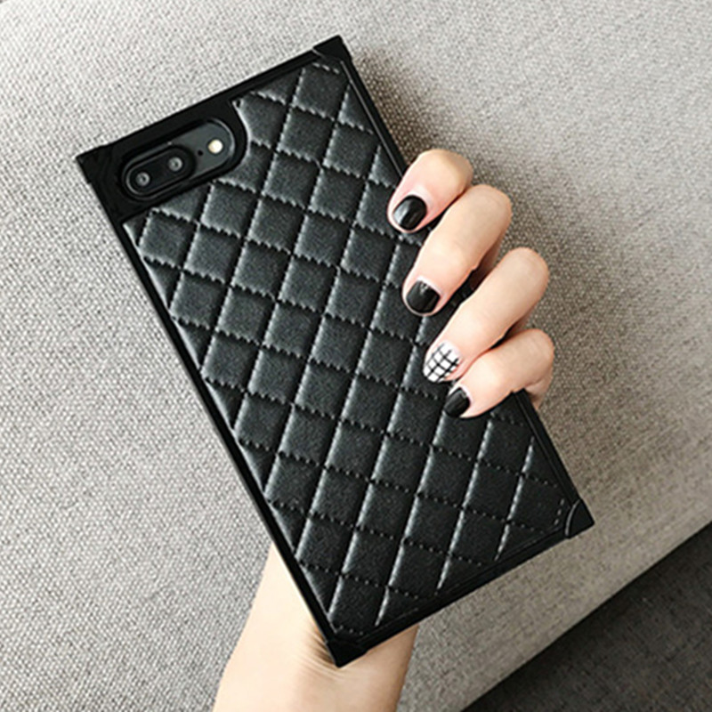 22b78c6ada4c1 Greenstraw Luxury Rectangle Shell For iPhone 7 6s 6 Plus Case Women Grids  PU Phone Case Bag Cover TPU Housing Sheep Skin Leather