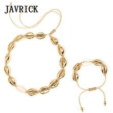 JAVRICK  2 Pcs/Set  Bohemia Ethnic Style Fashion Shells Pendant Silver Gold Natural Adjustable Braided Rope  Handmade Charms