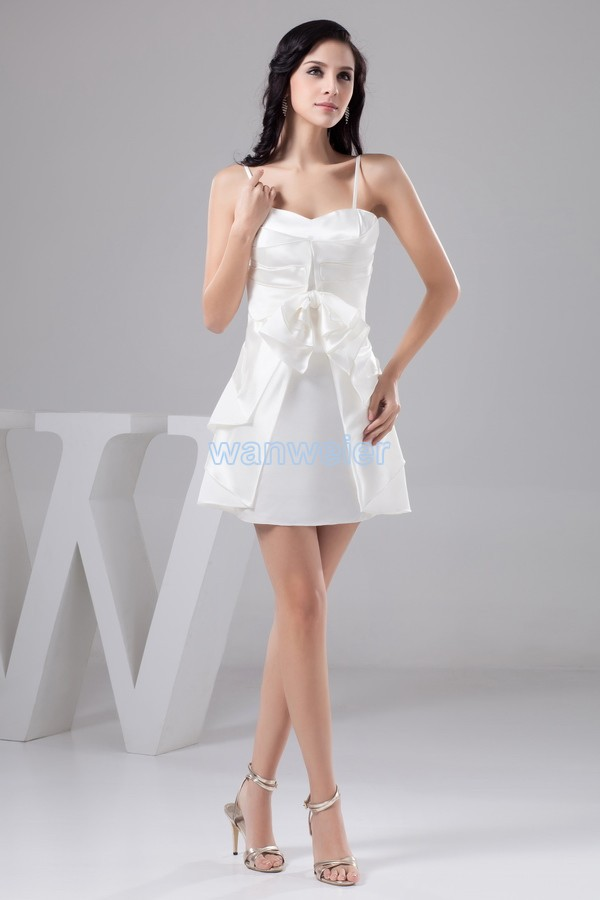 Livraison gratuite 2015 robe formelle vestido noiva grande taille nouveau design pli couleur personnalisée/taille courte mini robe de demoiselle d'honneur blanche - 3