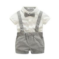Baby Boy Clothing Sets For Birthday Party Toddler Boys Gentleman Suit 2 Pieces Bow Tie Shirt