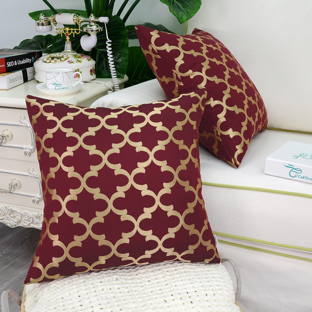 2PCS CaliTime Cushion Cover Pillows Shell Home Sofa Decor Bedding Texture Accent Geometric 18 X 18(45cm X 45cm) Burgundy Gold