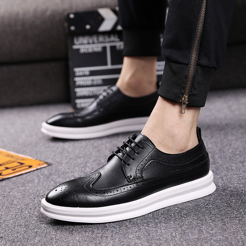 new arrival mens casual business office formal dress carved brogue sneakers black white platform bullock shoe