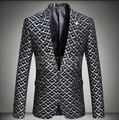 Моды для мужчин пиджак куртка пром формальные пальто весна осень зима мужской орнамент личность певица dancer звезды бар