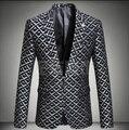 Homens de moda blazer jacket prom formal casaco primavera outono inverno masculino padrão decorativo personalidade cantor dancer estrelas bar